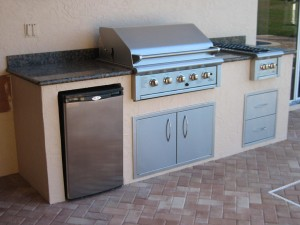 "custom outdoor kitchen with built in oci 36"" infrared gas grill"