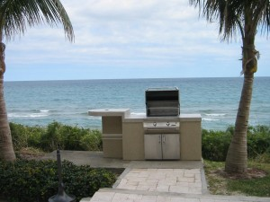 Custom outdoor kitchen grill island