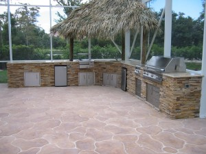 big outdoor summer kitchen with built in infrared grill